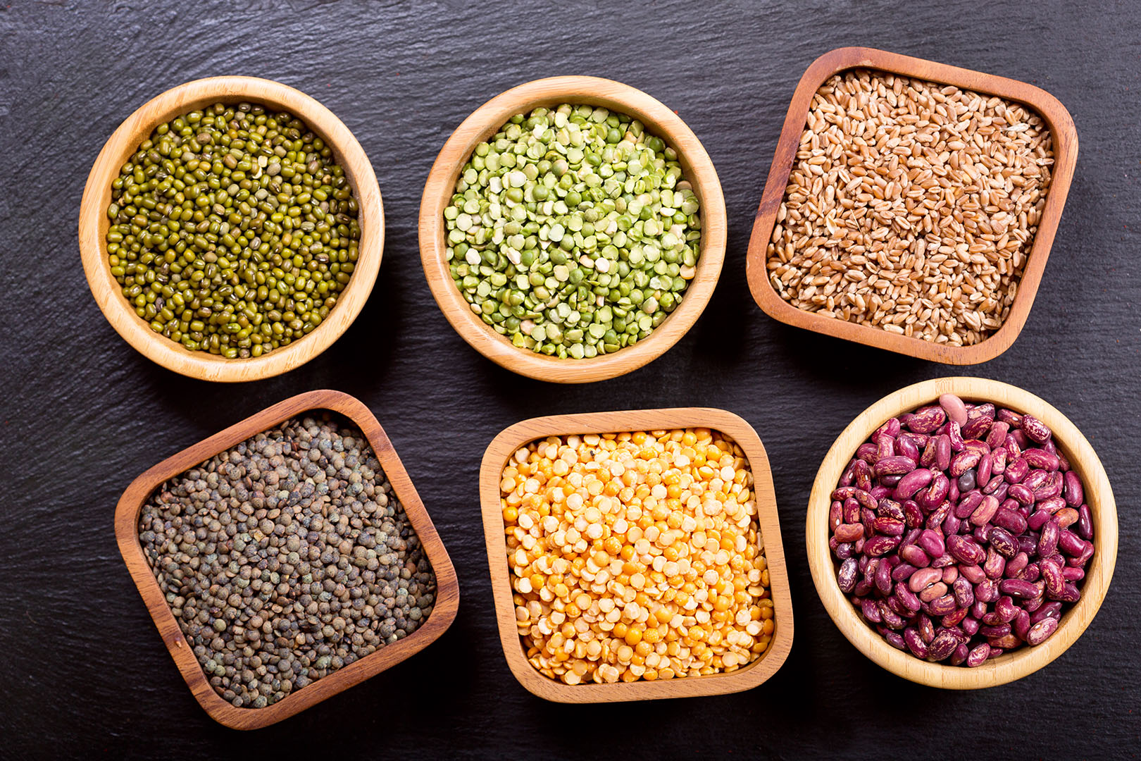 various cereals, seeds, beans and grains